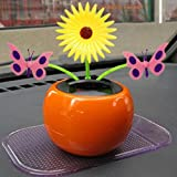 Naladoo Car Accessory, Solar Powered Dancing Flower Swinging Animated Dancer Toy Car Decoration New(Random Color)