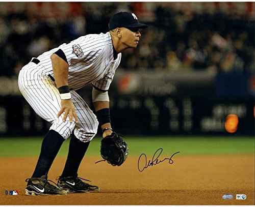 Alex Rodriguez 2009 WS Home Jersey Fielding Horizontal 16x20 Autographed Signed Photo MLB Auth FOR IN THE GAME COLLAGE - Authentic Signature