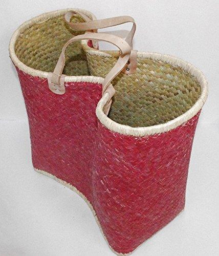 Palm cestas de compras con asas de piel