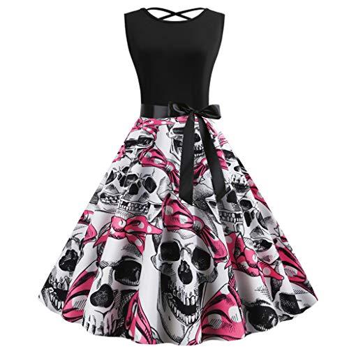 KLFGJ Women Halloween Vintage Dresses Sleeveless 1950s