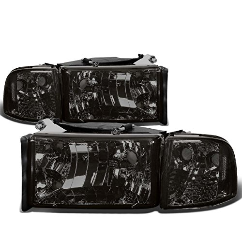 For Dodge Ram 2nd Gen BR/BE 4Pcs Smoked Lens Clear Corner Headlight+Corner Light/Lamp ()