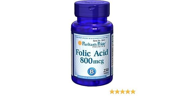 Ácido Fólico 800 mg 250 comprimidos. Puritans Pride 1 und.: Amazon.es: Salud y cuidado personal