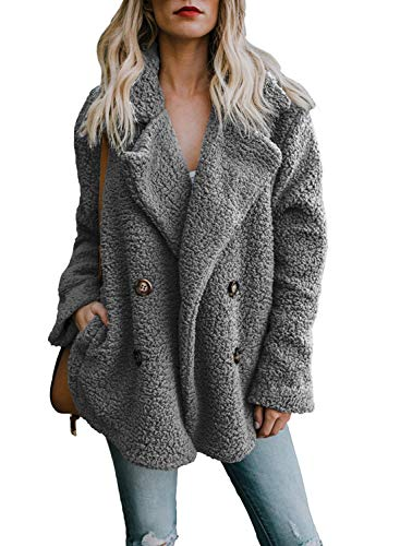 Womens Fleece Open Front Coat Outerwear Cardigan Jacket with Pockets Large S-Deep Grey (Fur Button Jacket Front)
