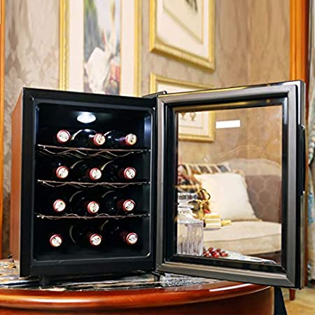hanzeni Vinoteca, De 12 Botellas, 3Estanterías, Mini Nevera para Vinos Y Bedidas, 12°C - 18°C, Botón Táctil, Pantalla Led, Negro