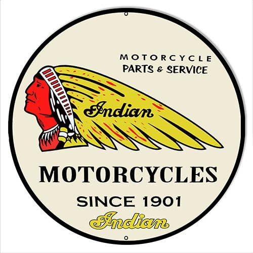 "Indian Motorcycle Metal Sign 14/"" Round"