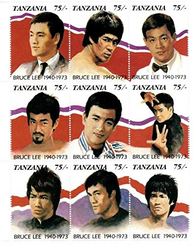 Bruce Lee - Action Movie Star - Limited Edition Collectors Stamps - Tanzania