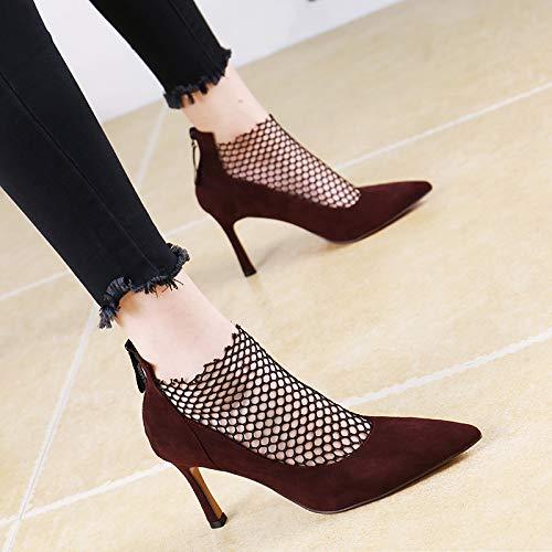 LBTSQ-Sexy High Heels Sagte High Heels 9Cm Stilvolle Persönlichkeit Mesh Mesh Mesh Atmungsaktiv Reißverschluss Einzelne Schuhe Patchwork ca9f84