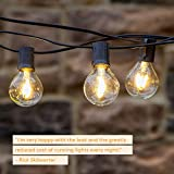 Brightech Ambience PRO Waterproof Outdoor Globe String Lights with G40 LED Bulbs - 26 Ft Commercial Grade Heavy Duty Lights - Cafe Bistro Gazebo Patio Lights w. Hanging Edison Bulbs- Blk