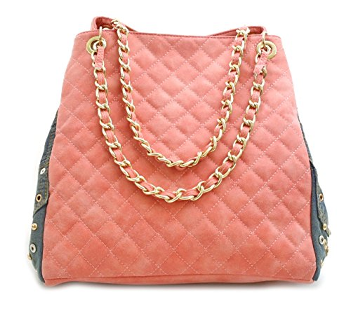 (Ladie's Quilted Faux Suede Denim Studded Tote Chain Handbag HB-15A-655R(Pink))