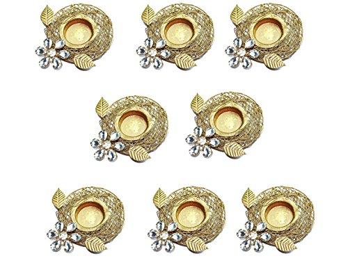 Set of 8 pc Diwali Diya Gift/Decoration Beautiful Candle Tea Light Holder with White Stones in Random Foil Paint. Diwali Diya Oil lamp/Christmas Decoration -