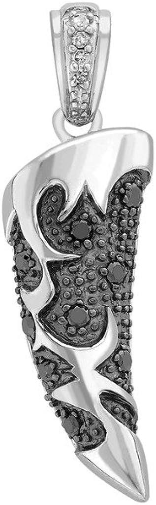 Colgante de oro blanco de 9 quilates con diseño de cuerno de diamante blanco y negro