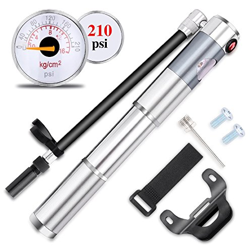 (Cycorld Mini Bike Pump Gauge, 210psi Bicycle Tire Pump Fits Presta & Schrader Valve, Portable Hand Air Pump Road Mountain MTB BMX Bikes, Including Frame Mount & Ball Needle)