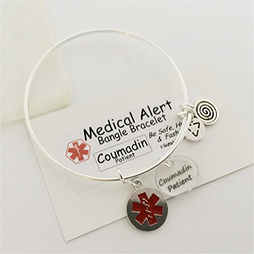 Medical Alert Bangle, Coumadin Patient charm, silver Wire Bangle Bracelet Emergency ()