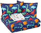 AmazonBasics Easy-Wash Microfiber Kid's Bed-in-a-Bag Bedding Set - Full or Queen, Multi-Color Dinosaurs