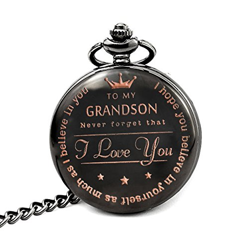 Mainbead Engraved Pocket watch,to grandson Gifts From a Grandpa, GrandMa by Mainbead
