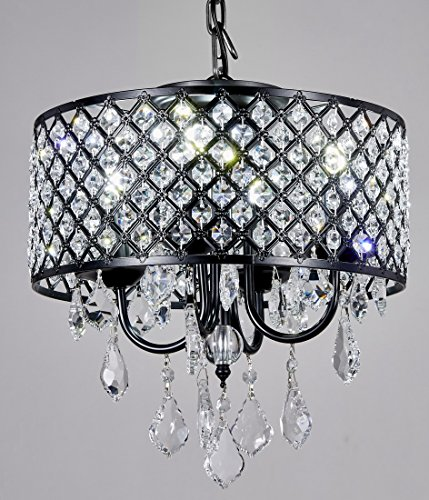 "New Galaxy 4-Light Antique Black Round Metal Shade Crystal Chandelier Pendant Hanging Ceiling Fixture - Contemporary style Pendant chandelier with Crystal Beaded Drum Shade Materials: Metal, crystal; Finish: Antique Black; Crystal: Clear Fixture dimensions:14"" Diameter x 13"" high or 18"" high with crystal hanging; included Chain: 33"", Total height: 50"" - kitchen-dining-room-decor, kitchen-dining-room, chandeliers-lighting - 51YIbCpBWCL -"