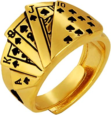 GuDeKe Herren Casino Glücksbringer Gold Royal Flush of