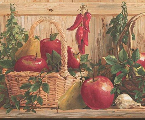 Basket Apples Pears Peppers Garlic Kitchen Shelf Vintage Wallpaper Border Retro Design, Roll 15' x 10
