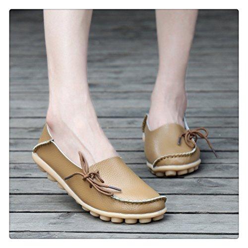 Siempre Pretty Mujeres Casual Leather Mother Mocasines Zapatos De Barco Conducción De Calzado Para Mujer De Color Caqui