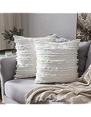 MIULEE Kussensloop met franjes, decoratief sierkussen in boho-stijl, superzachte kussenslopen met franjes, voor slaapbank, bank, slaapkamer, woonkamer, auto, 2-delige set
