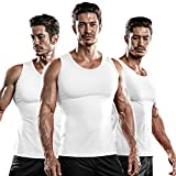 DRSKIN 3 Pack Men's Athletic Compression Sleeveless Tank Top Shirt Muscle Running Cool Dry Baselayer (NM-TA-(W,W,W), M)