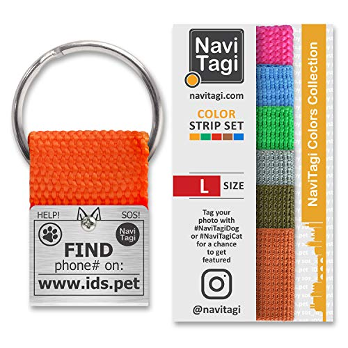NAVITAGI Adventure Pet ID Tag for Active Large Sized Dogs. Personalized w/ID Number. Includes Set of 7 Color Strips to Match Collars. 2 Phone Numbers Updatable Online. (Large)