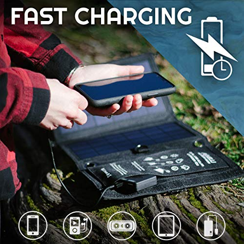 Foxelli Dual USB Solar Charger 10W - Portable Solar Panel Phone Charger for iPhone & Android Smartphones, iPads, Android Tablets, Power Banks & More, Solar Power Charger for Camping & Outdoors