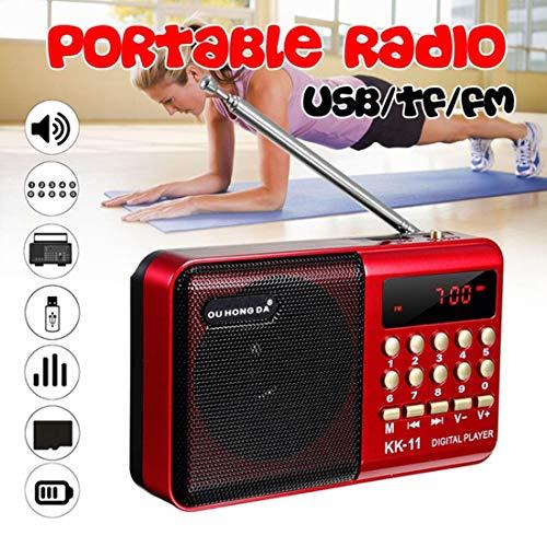 [해외]URON 미니 포터블 HiFi 음질 FM 라디오 외장 레버 길이 안테나, 방송 시간이 길어서, 2 차 전지. 자동 저장소 라디오 방송국. (수동저장 하 여 라디오 방송국의 기능을 제거 하는 것이 없다) (빨강) / URON mini portable HiFi sound quality FM rad...