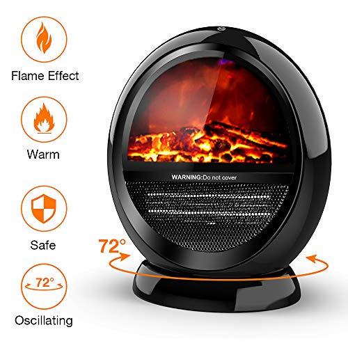 Cheap Electric Space Heater - 1200W Portable Heater with 2 Heat Settings Fireplace Heater with Tip-Over Shut Off Oscillating Heater with Flame Effect Room Heater for Indoor Use Low Noise M Black Black Friday & Cyber Monday 2019