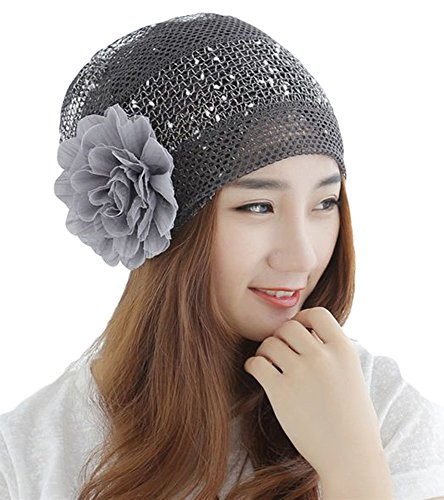 1f23840e385ef Qunson Womens Bling Flower Chemo Beanie Hat Cap for Cancer - Import ...