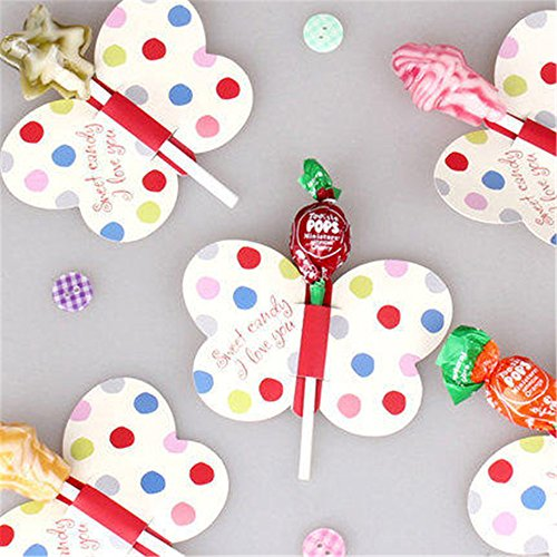 50pcs Candy Lollipop Decoration Gift Cute Insect Bees Ladybug Butterfly Card Birthday Party For Kids Wedding Decor (butterfly)