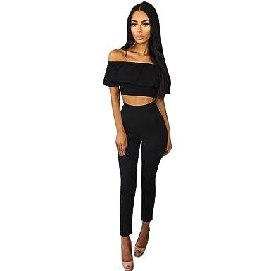 6f215021c8dff Sunward Women s 2 Pieces Jumpsuit Romper Off Shoulder Crop Top + Long Pants  Casual Style Small