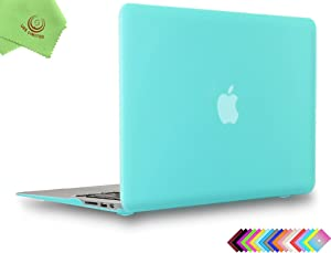 UESWILL Smooth Matte Hard Shell Case Cover for 2010-2017 Release MacBook Air 13 inch (Model A1466 / A1369) + Microfibre Cleaning Cloth, Turquoise