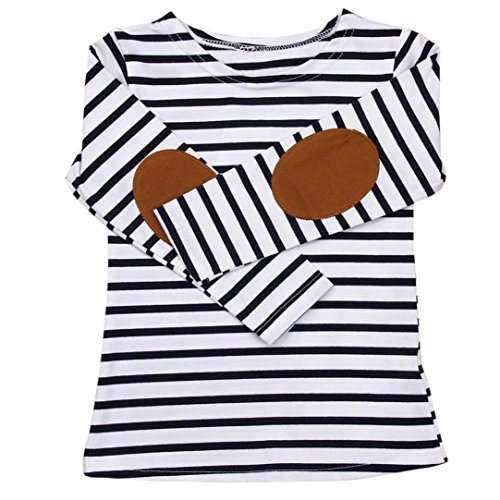 Clearance Sale Baby Clothes Toddler Infant Kids Boys Girls Casual Tunic Tops Stripe O-neck Pullover Long Sleeve T-Shirt Blouse (Navy, 3T)