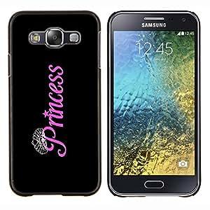 Negro Rosa Plata Diamante Tiara- Metal de aluminio y de plástico duro Caja del teléfono - Negro - Samsung Galaxy E5 / SM-E500