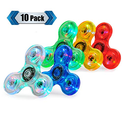 LED Fidget Spinner, Clear Fidget Toy, Crystal Led Light Rainbow Toy Finger Hand Spinner-Kids