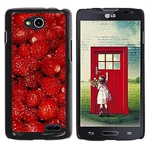 TopCaseStore / la caja del caucho duro de la cubierta de protección de la piel - Fruit Macro Raspberry Red - LG OPTIMUS L90 / D415