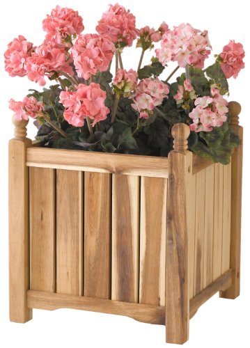 DMC Products 70301 14-Inch Lexington Square Solid Wood Planter, Natural (Dmc Flower)
