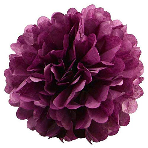 Efavormart 12 PCS Paper Tissue Wedding Birthday Party Banquet Event Festival Paper Flower Pom Pom Eggplant 12 inch