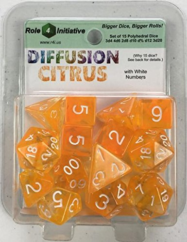15 Set Diffusion Dice: Citrus with White Numbers