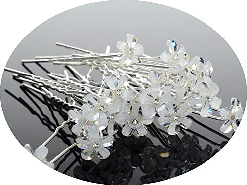 20/40PCS Wedding Bridal Pearl Hair Pins Flower Crystal Hair Clips Bridesmaid Jewelry Accessories hairpin Wholesale,H 20pcs