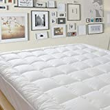 King Quilted Pillow Top Mattress Pad Cover, 8-21 Inch Deep Fitted Skirt