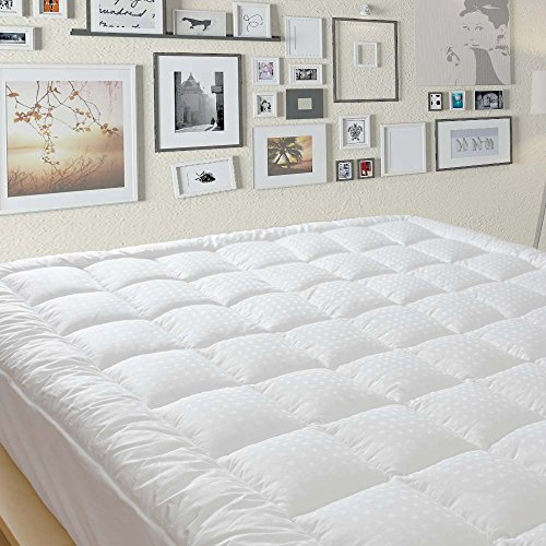 Top Pillow Cover (Queen Quilted Pillow Top Mattress Pad Cover, 8-21 Inch Deep Fitted Skirt)