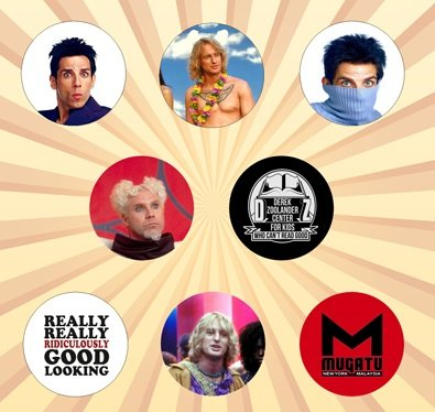 Zoolander Set of 8 - 1 Inch Pinback -