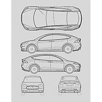 Good Tesla Model S Blueprint Print Car Wall Art Gift   Choose Your Model, 11x14