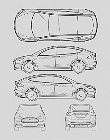 Amazon tesla model s blueprint print car wall art gift tesla model s blueprint print car wall art gift choose your model 11x14 malvernweather Choice Image