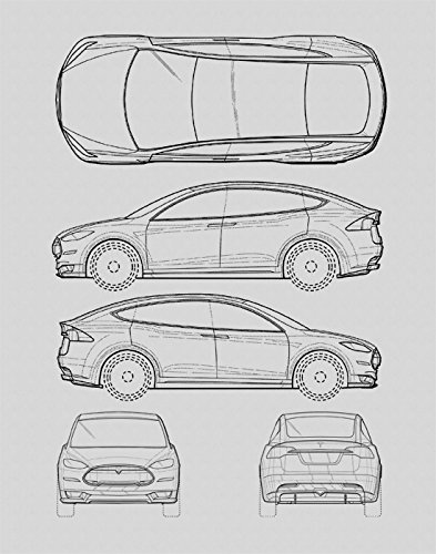 Amazon.com: Tesla Model S Blueprint Print Car Wall Art Gift - Choose ...