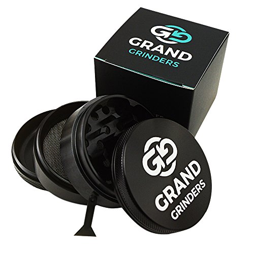 Premium Herb and Spices Grinder for Weed and Dry Herbs, With Pollen, Kief Catcher. Black Aluminium 4 Piece Spice Herb Grinder, 2,5-Inch: Grand Grinders