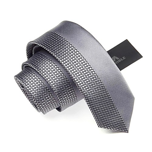 Manoble Men's Plaid Necktie Silver Grey 2.36 Inches Slim Jacquard Woven Tie