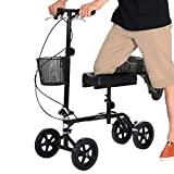 Giantex Steerable Foldable Knee Walker Roller Scooter Turning Brake Basket Drive Cart, Black